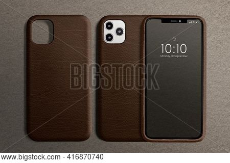 Brown leather phone case with design space