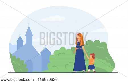 Happy Woman With Girl Going To Church. Faith, Belief, Weekend Flat Vector Illustration. Christianity