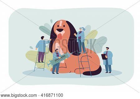 Cartoon Tiny Veterinaries Examining Or Treating Giant Dog. Flat Vector Illustration. Doctors Caring