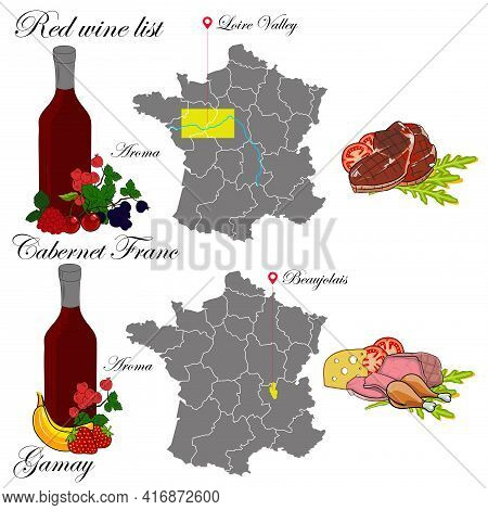 Cabernet Franc And Gamay. The Wine List. An Illustration Of A Red Wine With An Example Of Aromas, A