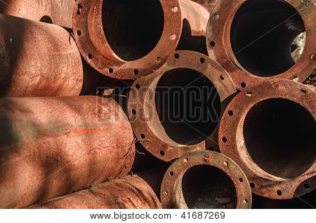 Rusty Old Pipes Stacked Up