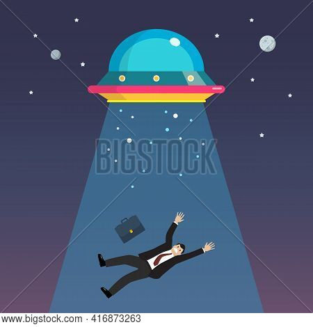 Businessman Abducted By Ufo. Flat Style Vector Illustration