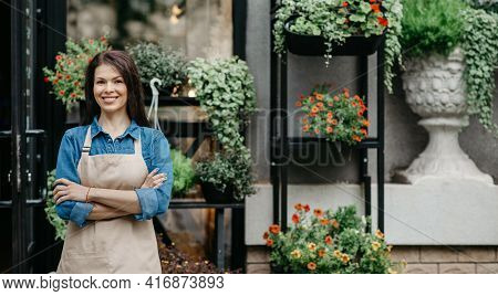 Startup Successful Small Business, Entrepreneur Standing At Florist Shop, Environment Friendly Conce