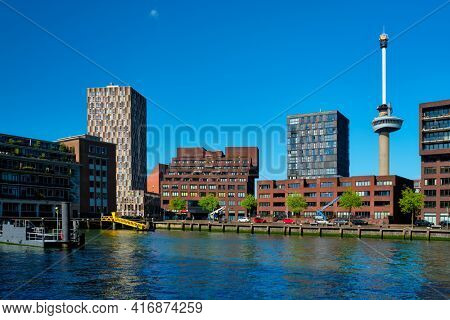 Rotterdam cityscape and Nieuwe Maas river. Rotterdam, Netherlands