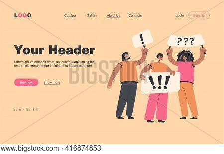 Crowd Of Women Holding Placards And Protesting Isolated Flat Vector Illustration. Cartoon Political
