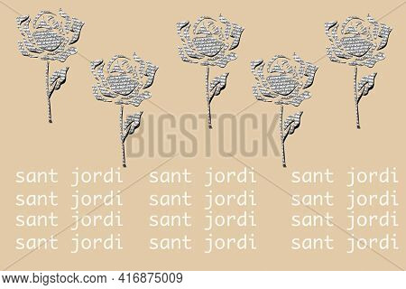 roses, cut out on a non-sense written paper, on a brown background and the text sant jordi, the catalan name for saint george day, when it is tradition to give roses and books in catalonia, spain