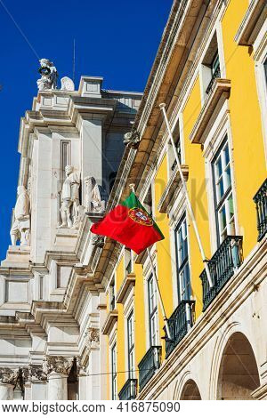 Flag of Portugal in Lisbon, Portugal, Europe