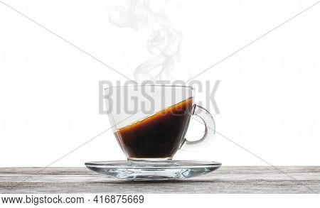 Cup Of  Coffee Illustrating Weird Liquid Level An Effect Of The Fundamental Forces Interaction