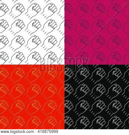 Set Of Seamless Patterns With Hand Clenched Fist Icon. Symbol Of Strength And Fight Against Injustic