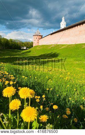 Veliky Novgorod, Russia. The Metropolitan Tower And Clock Tower Of Novgorod Kremlin, Veliky Novgorod