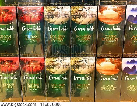 Greenfield Golden Ceylon Black Tea Assorted In Box Bags, In A Supermarket Shelf Close Up, Russia, Sa