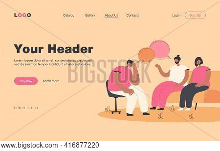 Depressed People Counseling With Psychologist Isolated Flat Vector Illustration. Cartoon Characters