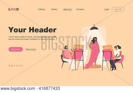 Woman Posing For Artist. People Painting Pictures At Easels In Studio Classroom. Vector Illustration