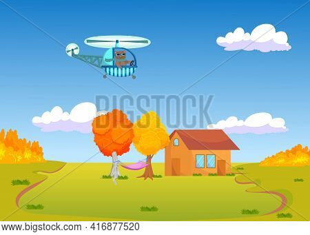 Cute Cartoon Cat Flying Helicopter Over Autumn Landscape. Animal In Scarf On Helicopter, Village In