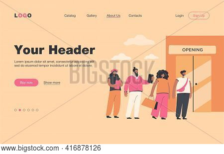 Sale Vector Illustration. Line Of Customers Waiting Store Opening. Queue Of People Standing At Bouti