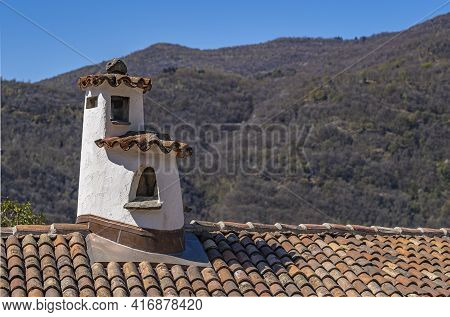 Picturesque Chimney On The Roof Of An Old House In Swiss Village Morcote At Lake Lugano