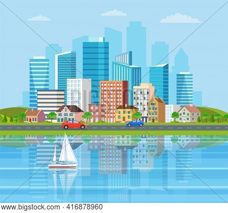 Landscape With Buildings, Mountains, River And Hills. City Concept And Suburban Life. City Street, S