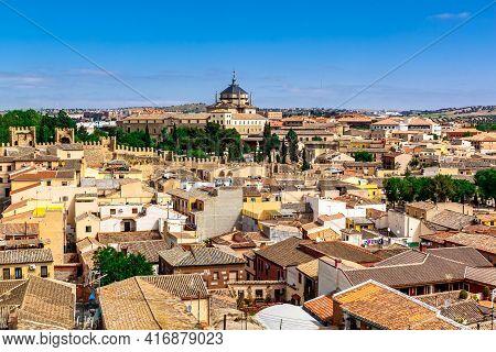 Panoramic View Of The Toledo Skyline. Toledo,  Castilla - La Mancha, Spain.