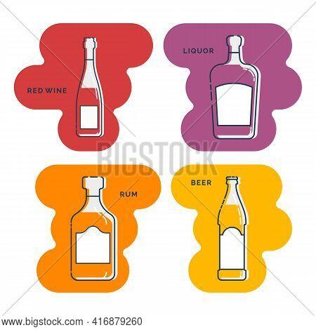 Bottle Red Wine Rum Liquor Beer Line Art In Flat Style. Restaurant Alcoholic Illustration For Celebr
