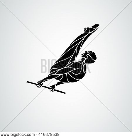Horizontal Bar Male Gymnast In Artistic Gymnastics Vector