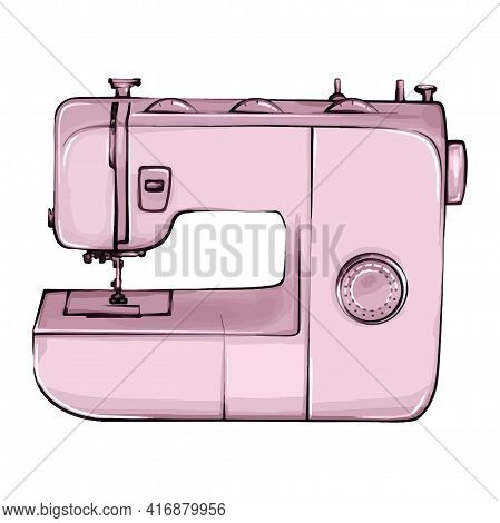 Hand-drawn Sewing Machine Retro Sketch For Your Design. A Modern Illustration Of A Sewing Machine On