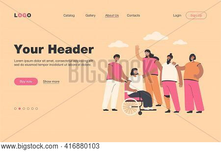 Smiling Volunteers Helping Disabled People Isolated Flat Vector Illustration. Cartoon Character Givi