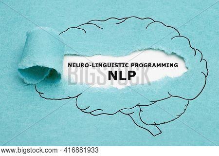 Printed Acronym Nlp Neuro Linguistic Programming Appearing Behind Torn Blue Paper In Human Brain Dra