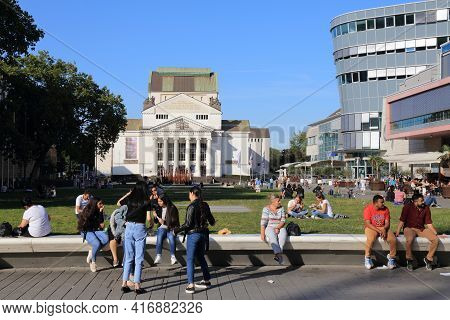 Duisburg, Germany - September 18, 2020: People Visit Koenig Heinrich Square In Duisburg, Germany. Du