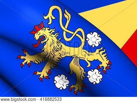 3d Flag Of Geldern (north Rhine-westphalia), Germany. 3d Illustration.