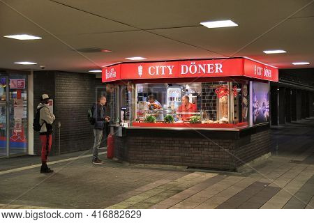 Duisburg, Germany - September 18, 2020: People Visit Doner Kebab Fast Food In Duisburg, Germany. Don