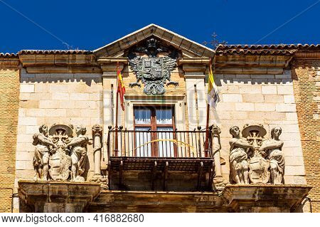 Toledo,  Castilla La Mancha  Spain - 12 May 2013: The Pediment Of The Bishop's Palace With The Coat