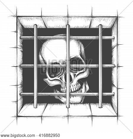 Jail Skull Tattoo In Engraving Style Isolated On White. Vector Illustration.