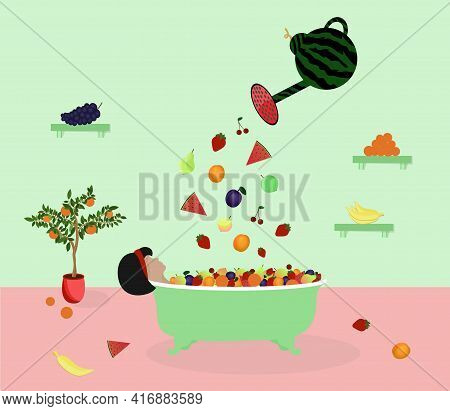 Woman Is Lying In The Bathroom Under The Fruit Rain. Side View. Fruit Is Poured From A Watermelon Wa