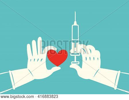 Hand In Rubber Gloves Holding Syringe Of Coronavirus Vaccine And Red Heart Preparing For Child, Baby