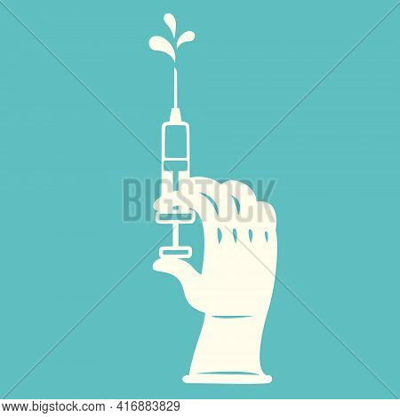 Hand With Rubber Glove Holding Syringe Of Vaccine Preparing For Child, Baby, Adult And Senior Vaccin