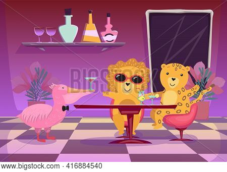 Happy Exotic Animals Drinking Cocktails At Party Illustration. Lion And Tiger Sitting At Table In Ba