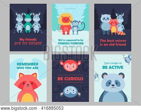 Wild Animal Postcards Set Cartoon Vector Illustration. Cute Beasts For Kids With Inspirational Quote
