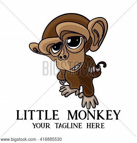 Monkey Design Logo Vector. Monkey Illustration Animal Vector