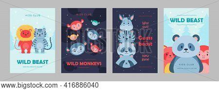 Wild Animal Posters Set Cartoon Vector Illustration. Cute Beasts For Kids Club, Wild Quiz. Lion, Pan