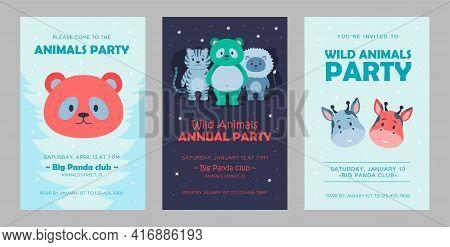 Wild Animal Invitations Set Cartoon Vector Illustration. Cute Beasts Template For Children Animal Pa