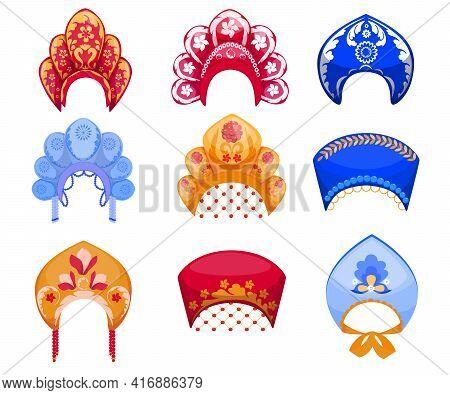 Cartoon Set Of Kokoshniks, Traditional Russian Woman Headdress. Flat Vector Illustration. Different