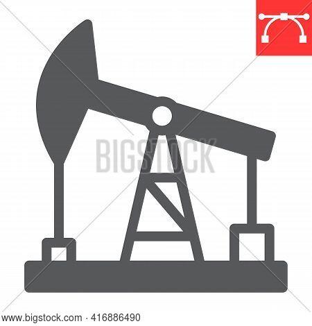 Oil Pump Glyph Icon, Industry And Pump Jack, Oil Rig Vector Icon, Vector Graphics, Editable Stroke S