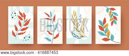 Set Of Abstract Botany Silhouettes In Pastel Style. Various Greenery Branches Vector Illustrations F