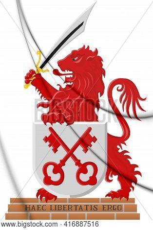 3d Leiden Coat Of Arms (south Holland), Netherlands. 3d Illustration.