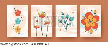 Set Of Abstract Spring Flora Shapes In Pastel Style. Creative Field Flowers For Summer Or Spring Bou