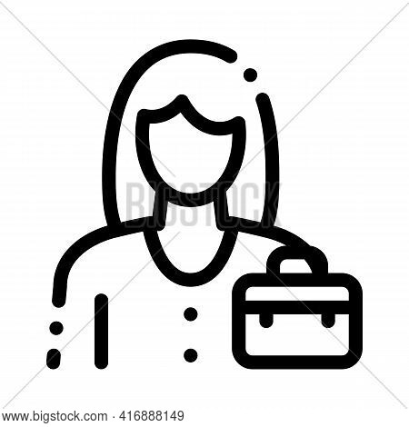 Businesswoman Employee Line Icon Vector. Businesswoman Employee Sign. Isolated Contour Symbol Black