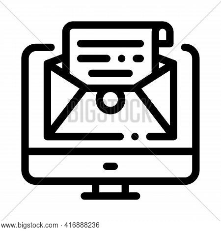 Accept Incoming Mail Administrator Line Icon Vector. Accept Incoming Mail Administrator Sign. Isolat
