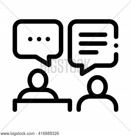 Interview Administrator Line Icon Vector. Interview Administrator Sign. Isolated Contour Symbol Blac