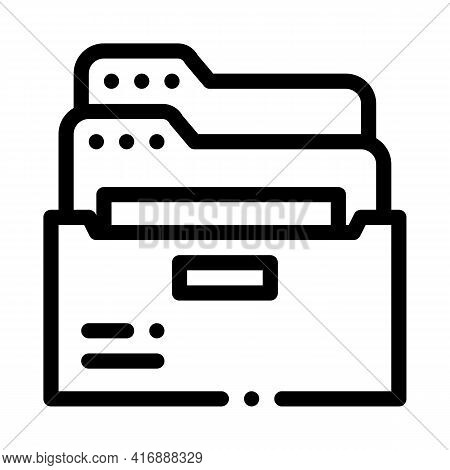 Archive Folders Of Administrator Line Icon Vector. Archive Folders Of Administrator Sign. Isolated C