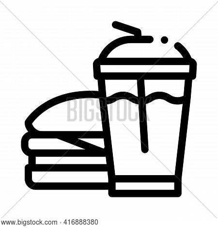 Unhealthy Fast Food Line Icon Vector. Unhealthy Fast Food Sign. Isolated Contour Symbol Black Illust